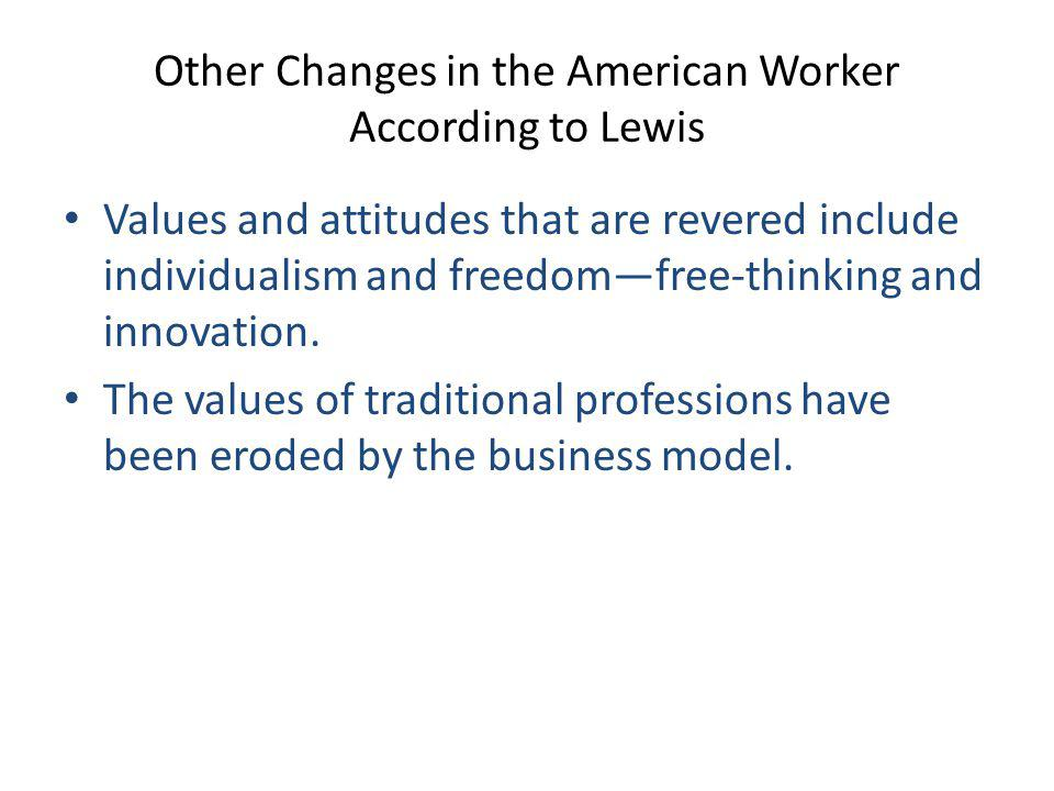 Other Changes in the American Worker According to Lewis
