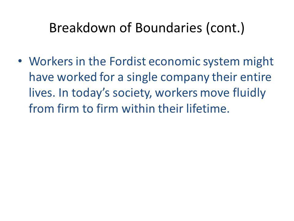 Breakdown of Boundaries (cont.)