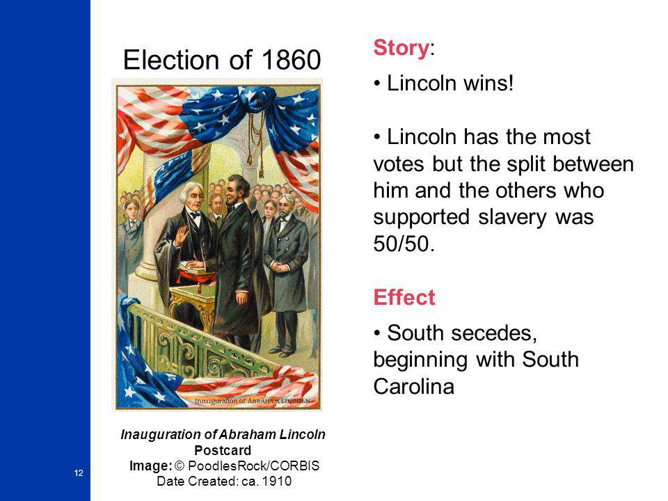 Election of 1860 Story: Lincoln wins!