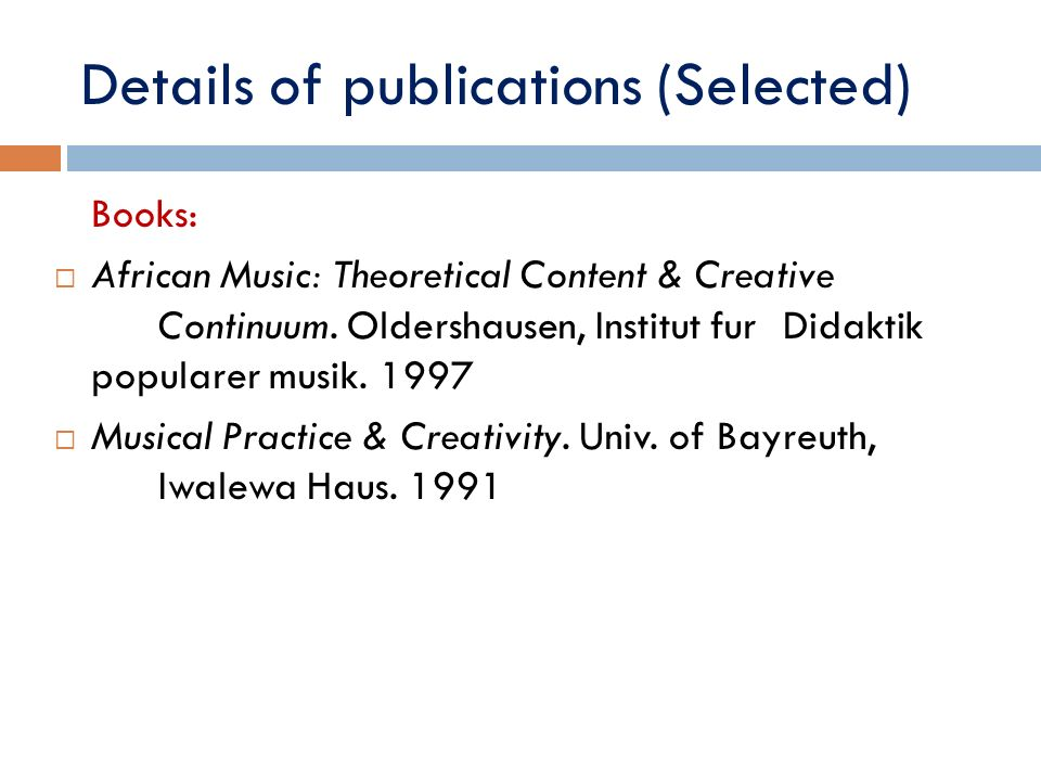 Details of publications (Selected)