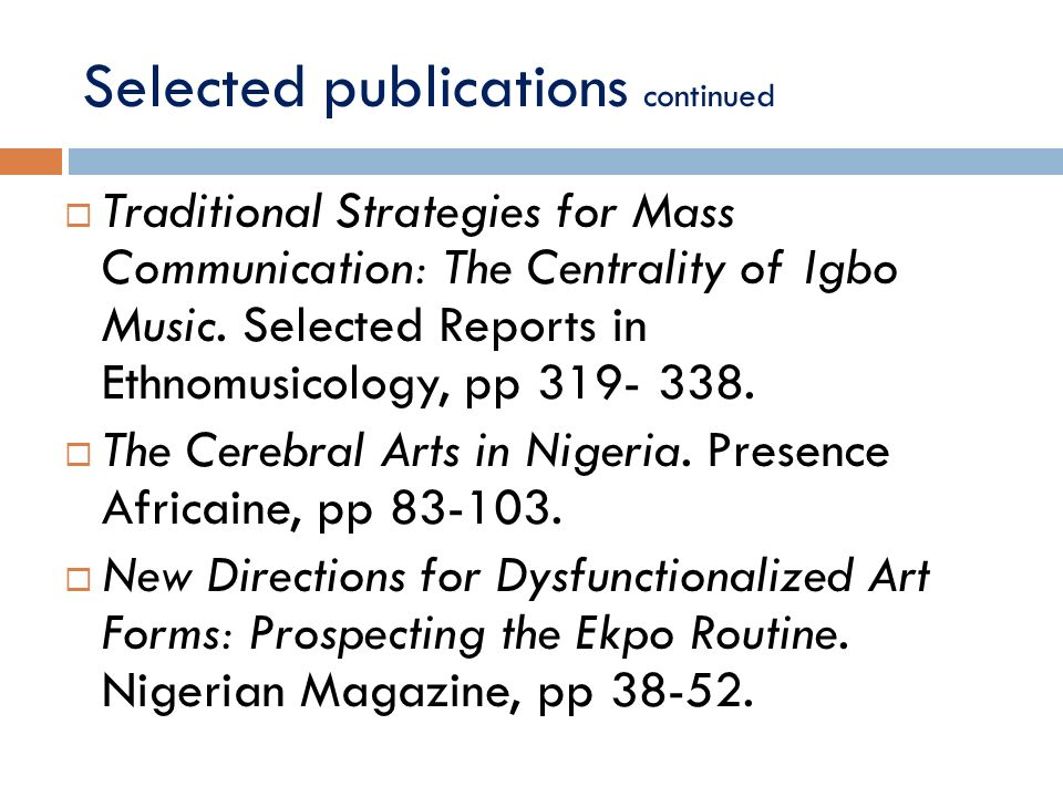 Selected publications continued