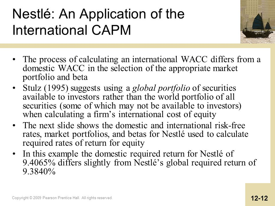 Nestlé: An Application of the International CAPM