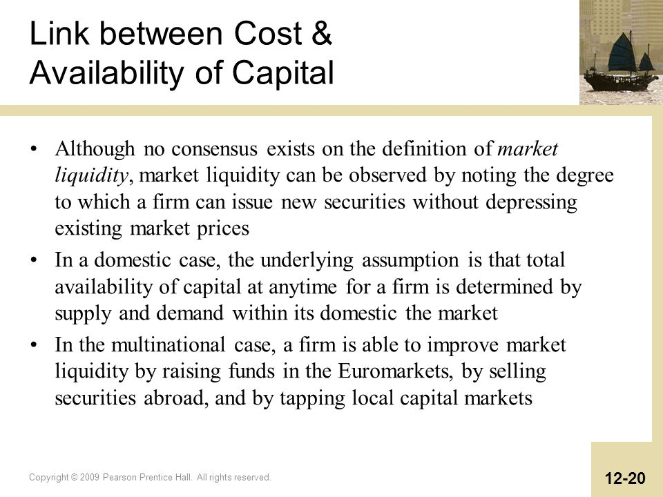 Link between Cost & Availability of Capital