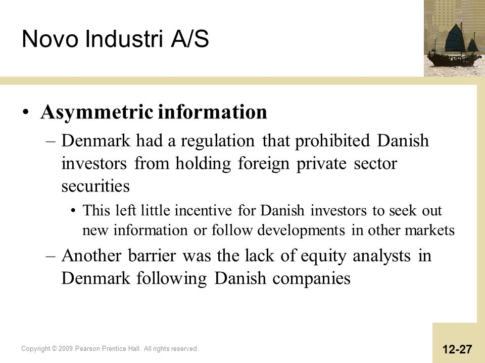 Novo Industri A/S Asymmetric information