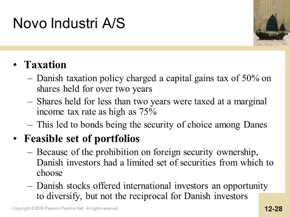 Novo Industri A/S Taxation Feasible set of portfolios