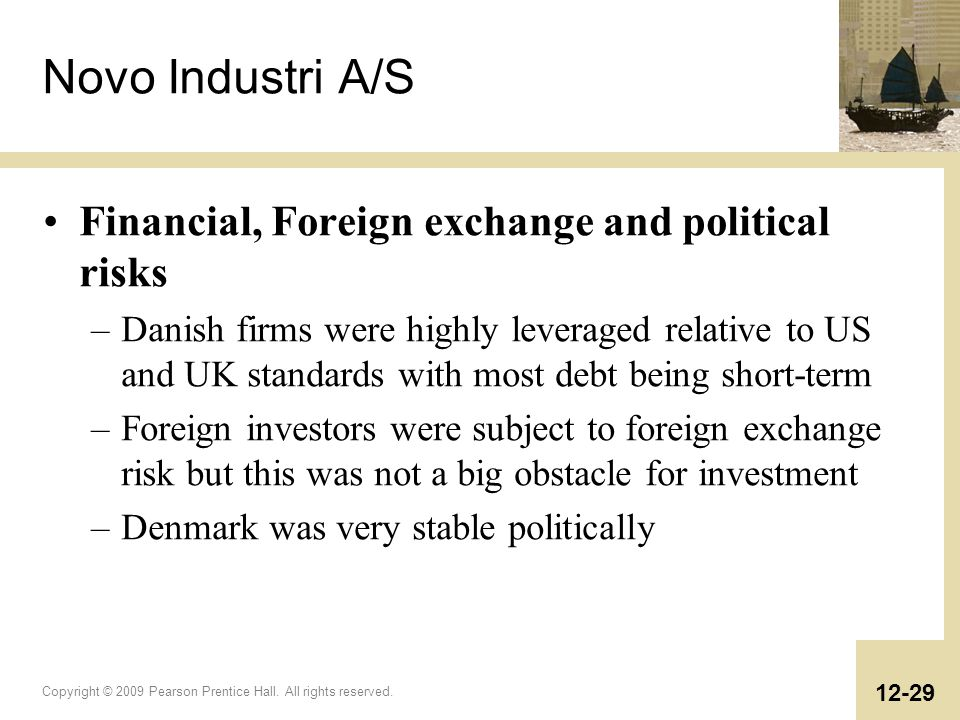 Novo Industri A/S Financial, Foreign exchange and political risks