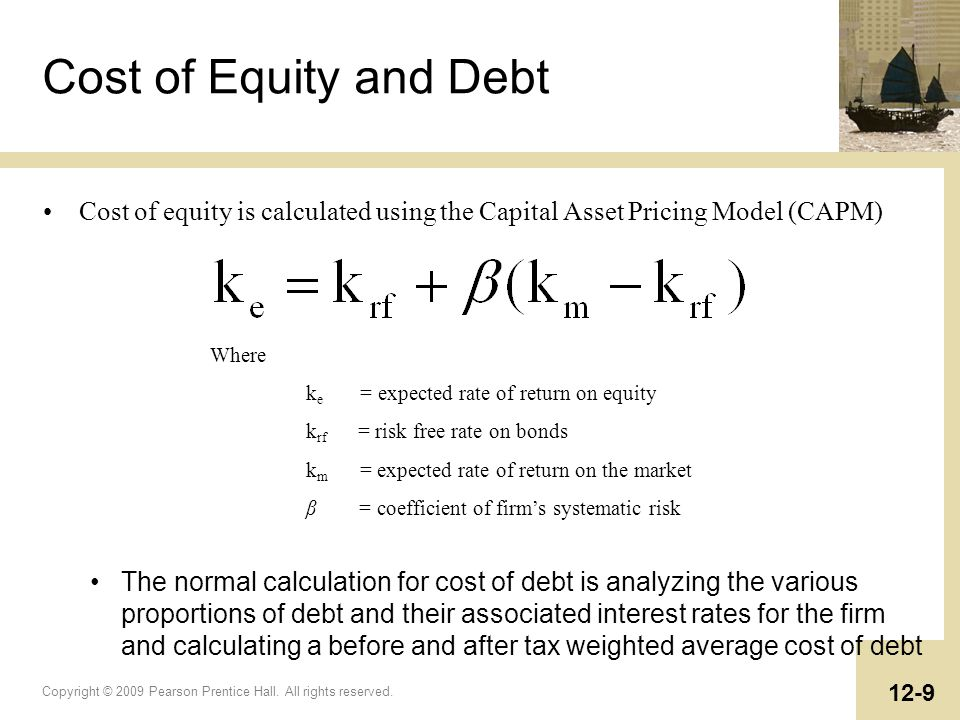 Cost of Equity and Debt Cost of equity is calculated using the Capital Asset Pricing Model (CAPM) Where.