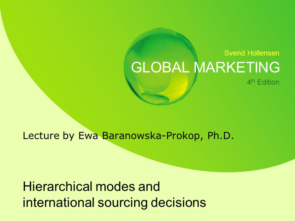 Hierarchical modes and international sourcing decisions