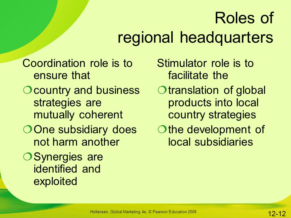 Roles of regional headquarters