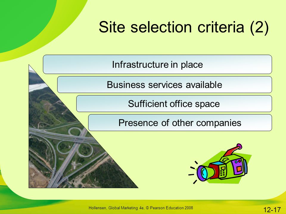 Site selection criteria (2)