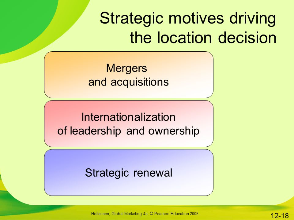 Strategic motives driving the location decision
