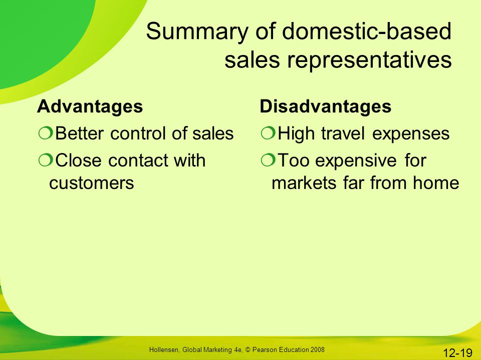 Summary of domestic-based sales representatives