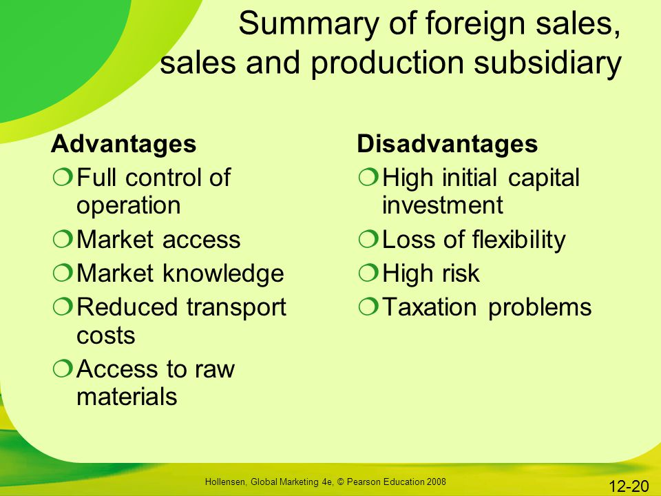Summary of foreign sales, sales and production subsidiary