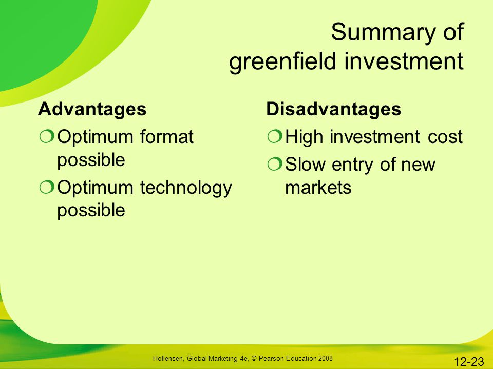 Summary of greenfield investment