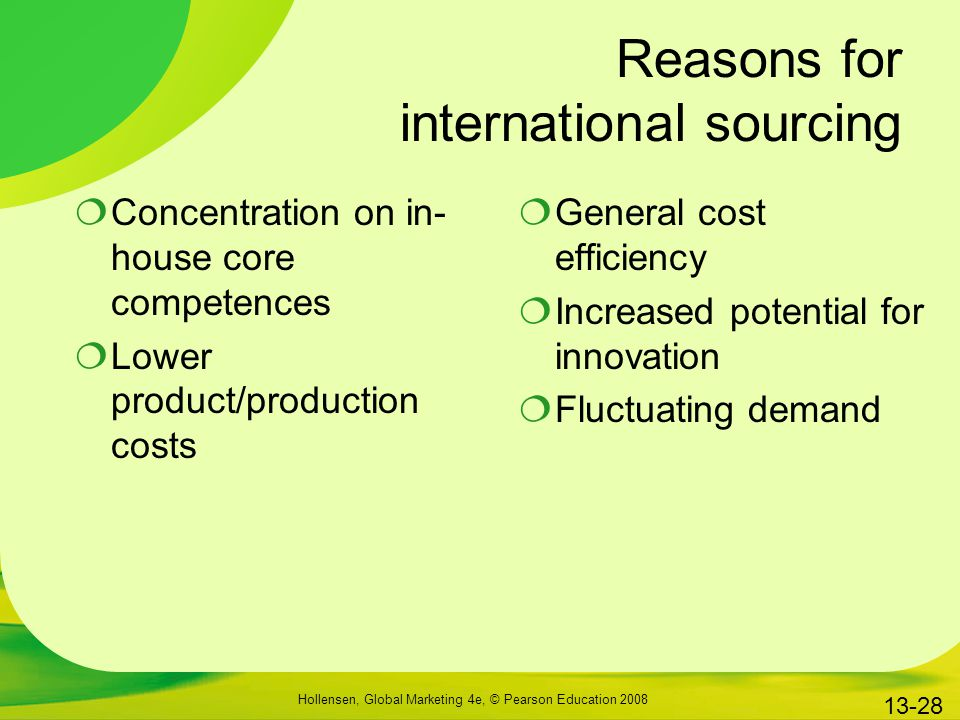 Reasons for international sourcing