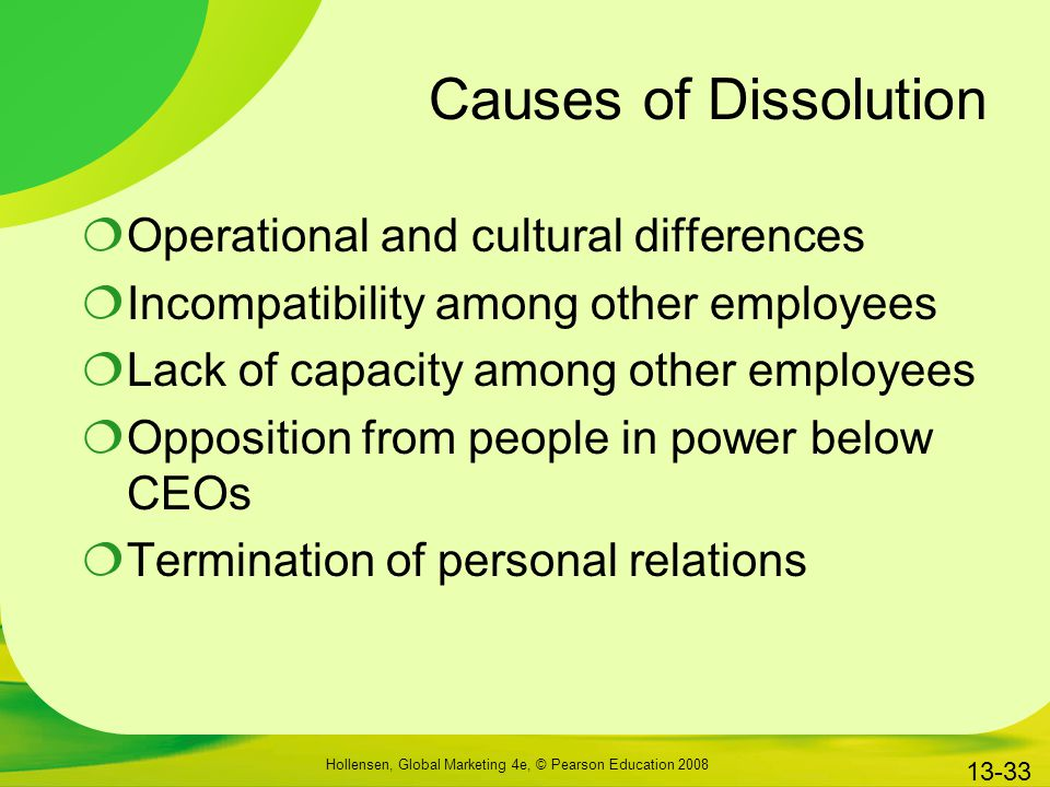 Causes of Dissolution Operational and cultural differences