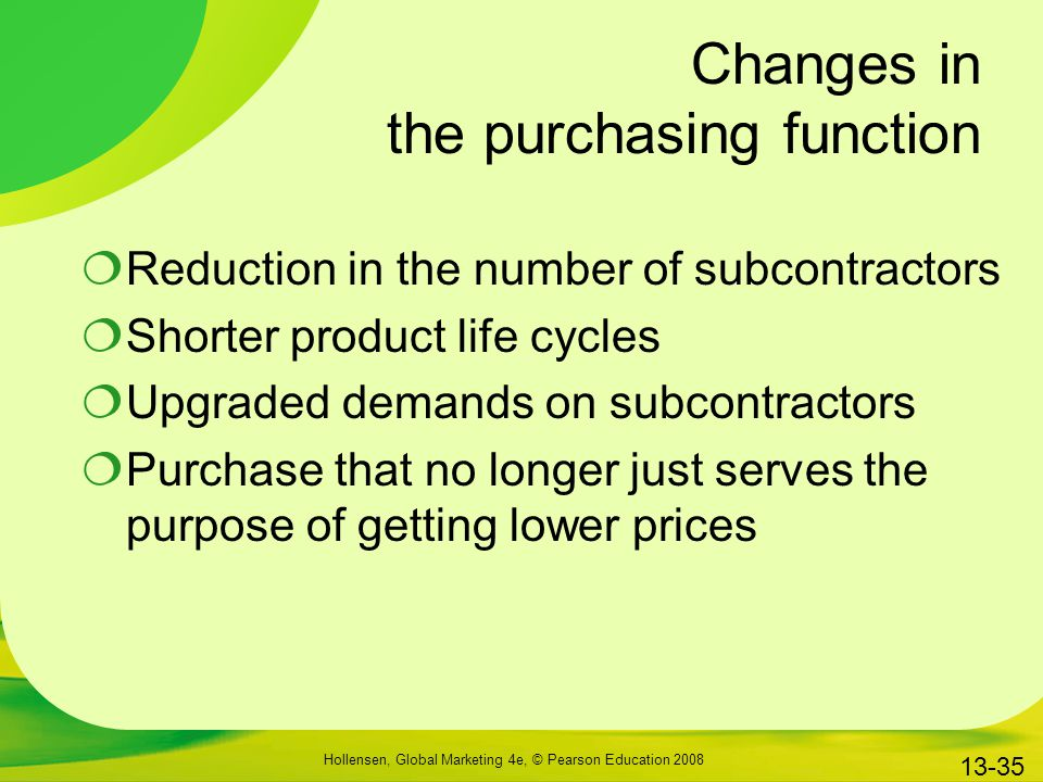 Changes in the purchasing function