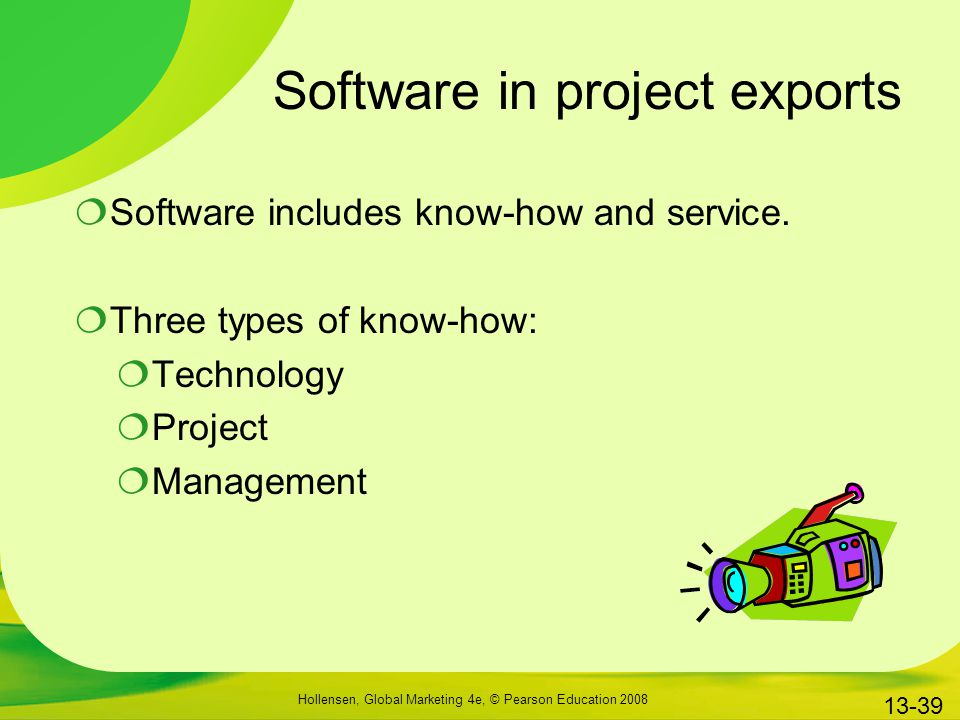 Software in project exports