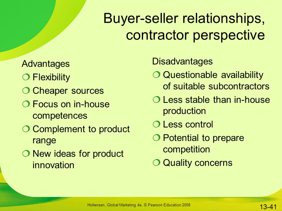 Buyer-seller relationships, contractor perspective