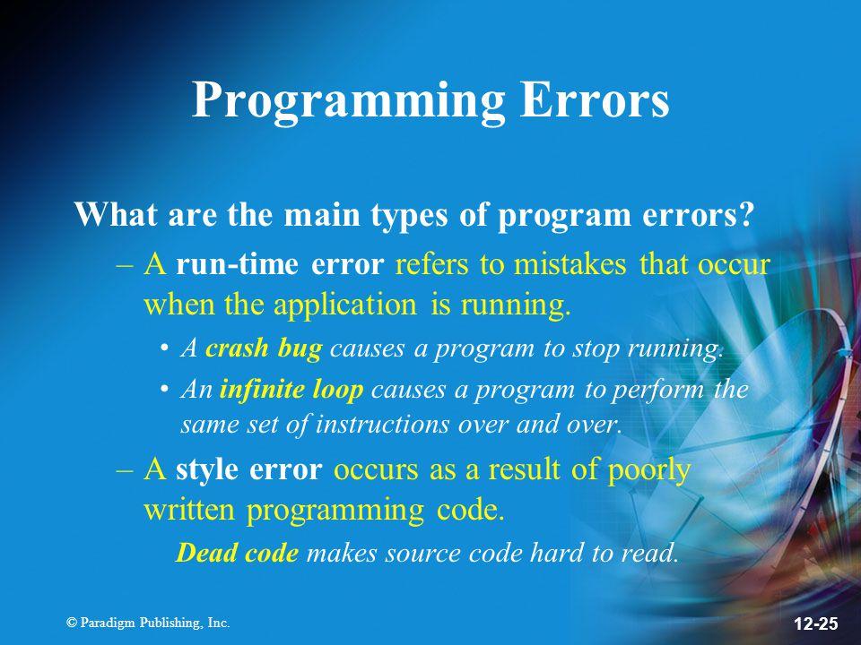 Programming Errors What are the main types of program errors