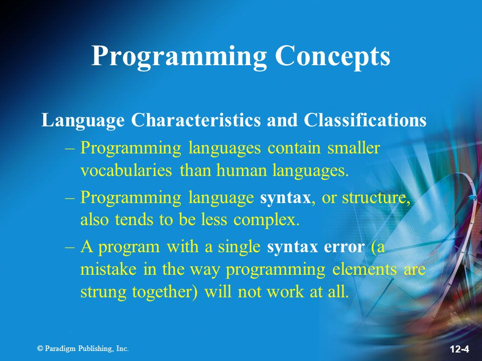 Programming Concepts Language Characteristics and Classifications