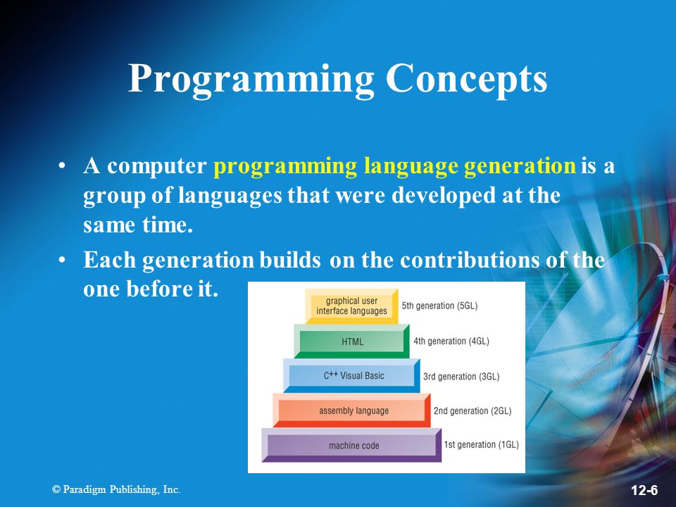Programming Concepts A computer programming language generation is a group of languages that were developed at the same time.