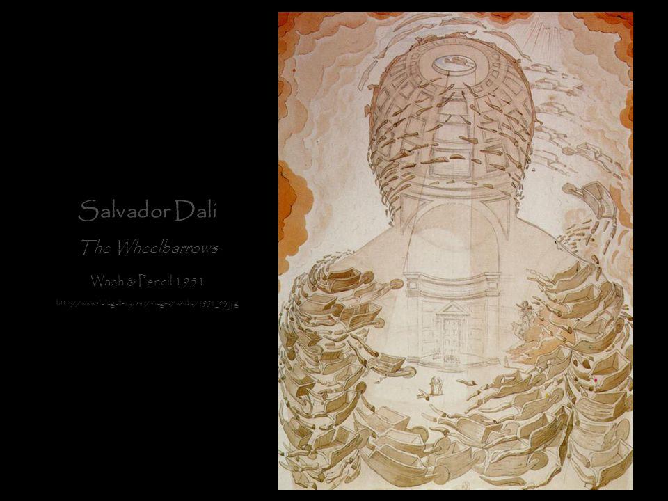 Salvador Dali The Wheelbarrows Wash & Pencil 1951
