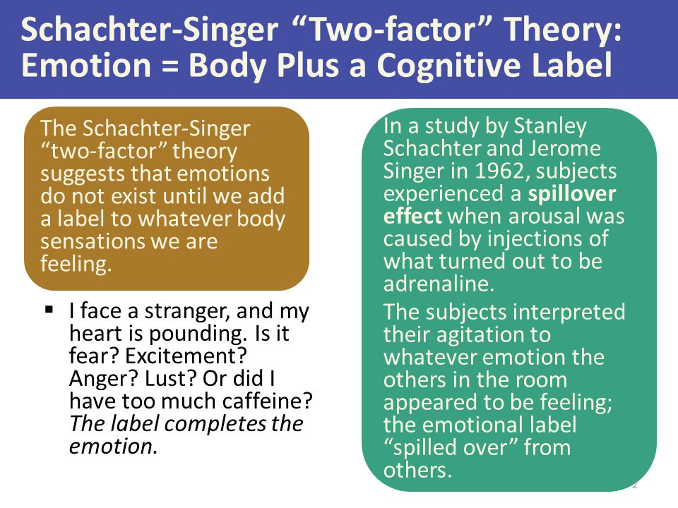 Schachter-Singer Two-factor Theory: Emotion = Body Plus a Cognitive Label