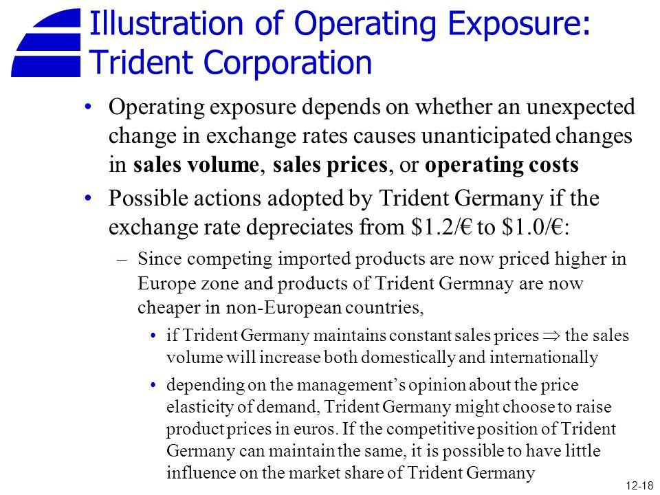 Illustration of Operating Exposure: Trident Corporation