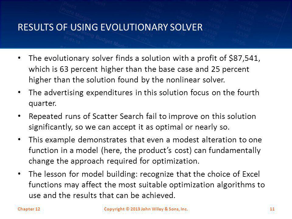 Results of Using Evolutionary Solver