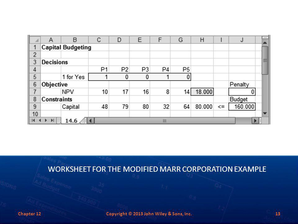 Worksheet for the Modified Marr Corporation Example