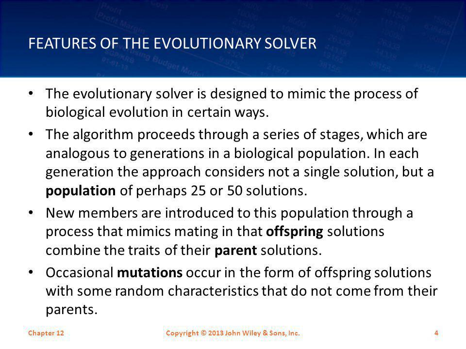 Features Of The Evolutionary Solver