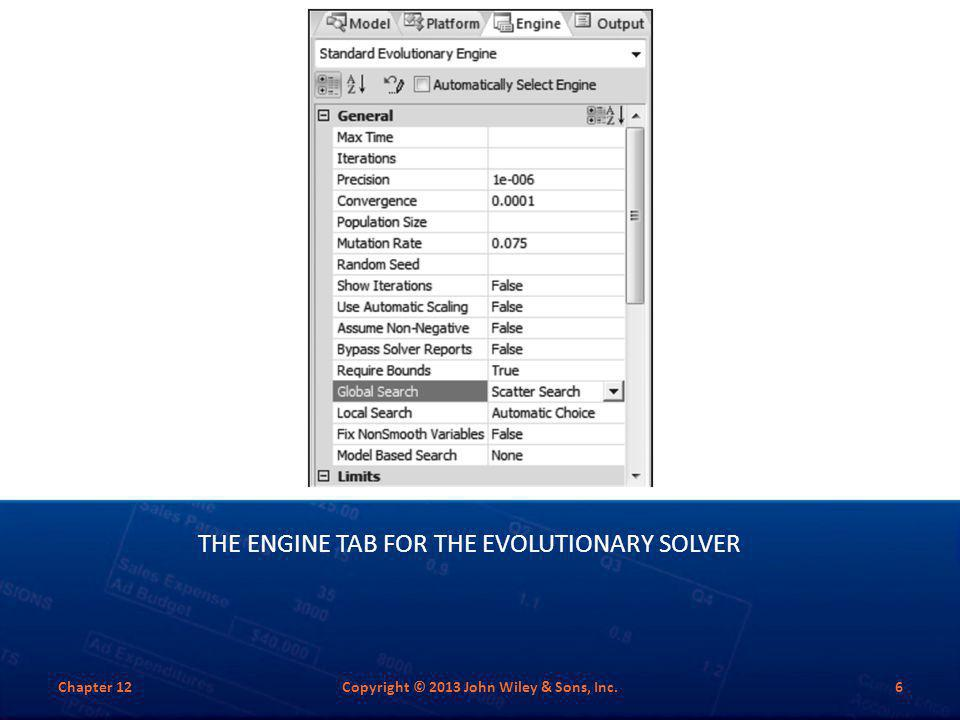 The Engine Tab for the Evolutionary Solver