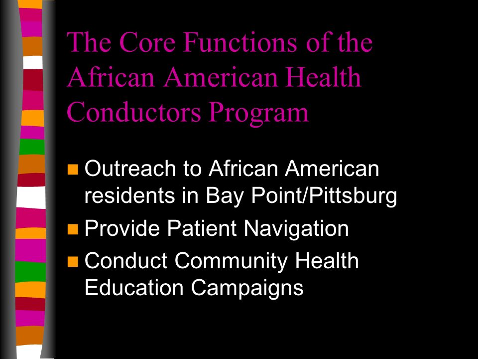 The Core Functions of the African American Health Conductors Program