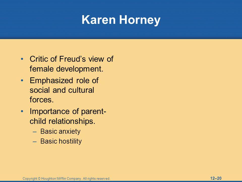 Karen Horney Critic of Freud's view of female development.