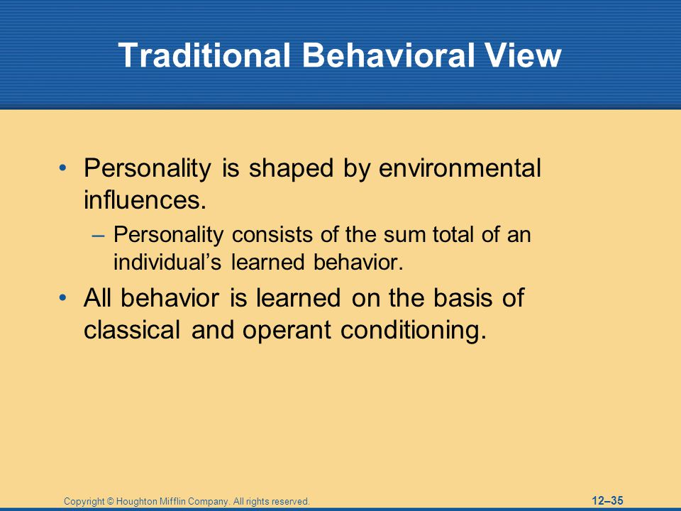 Traditional Behavioral View