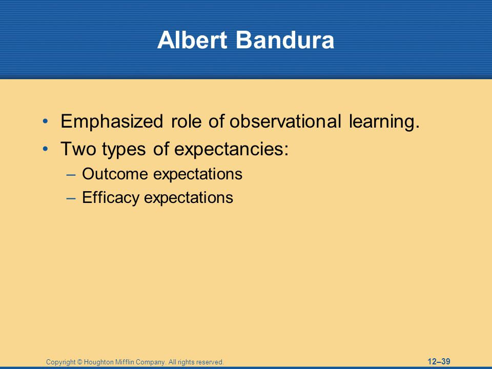 Albert Bandura Emphasized role of observational learning.