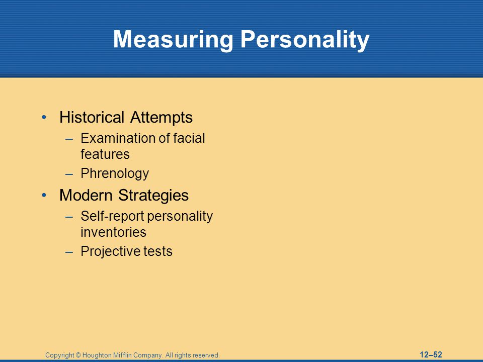 Report of personality traits test