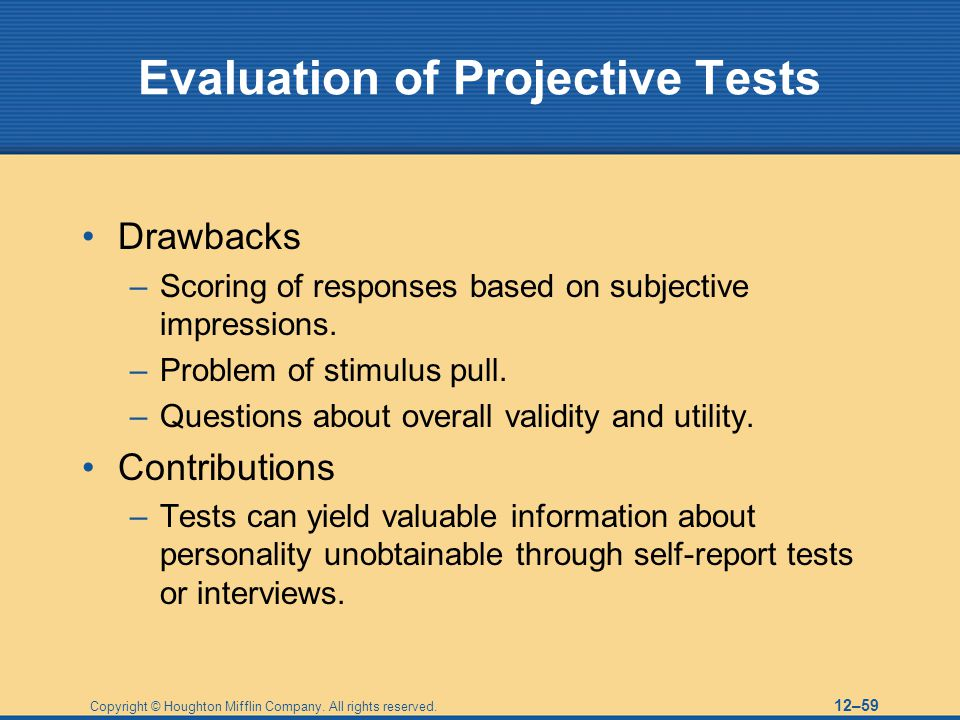 Evaluation of Projective Tests