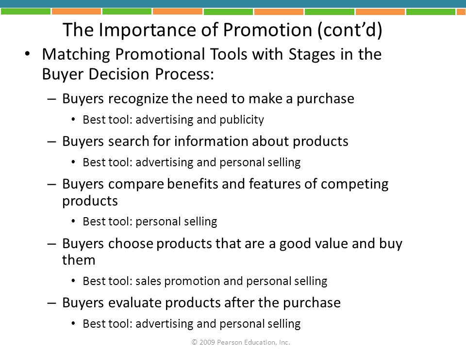 The Importance of Promotion (cont'd)