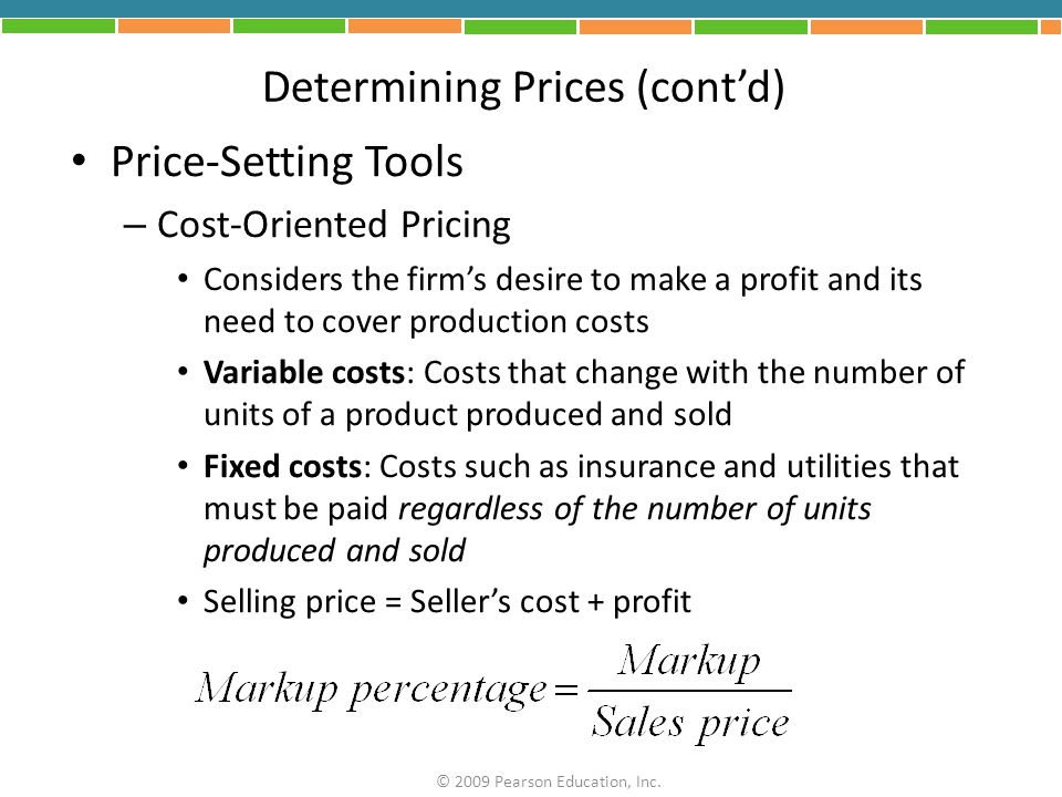 Determining Prices (cont'd)