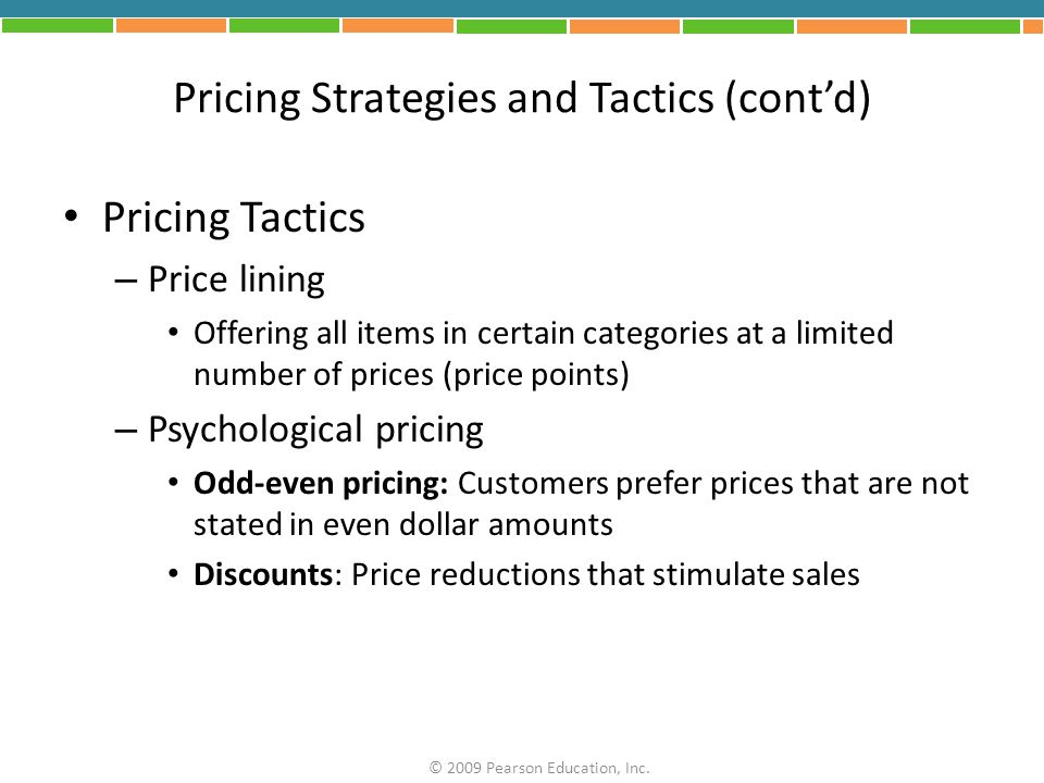 Pricing Strategies and Tactics (cont'd)