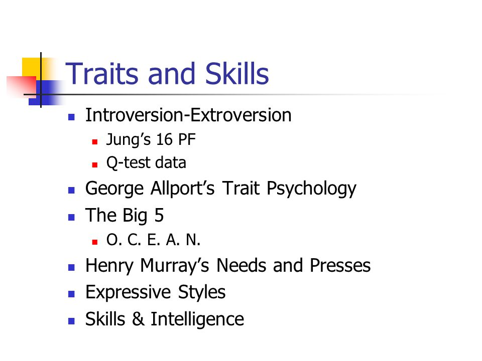 Traits and Skills Introversion-Extroversion