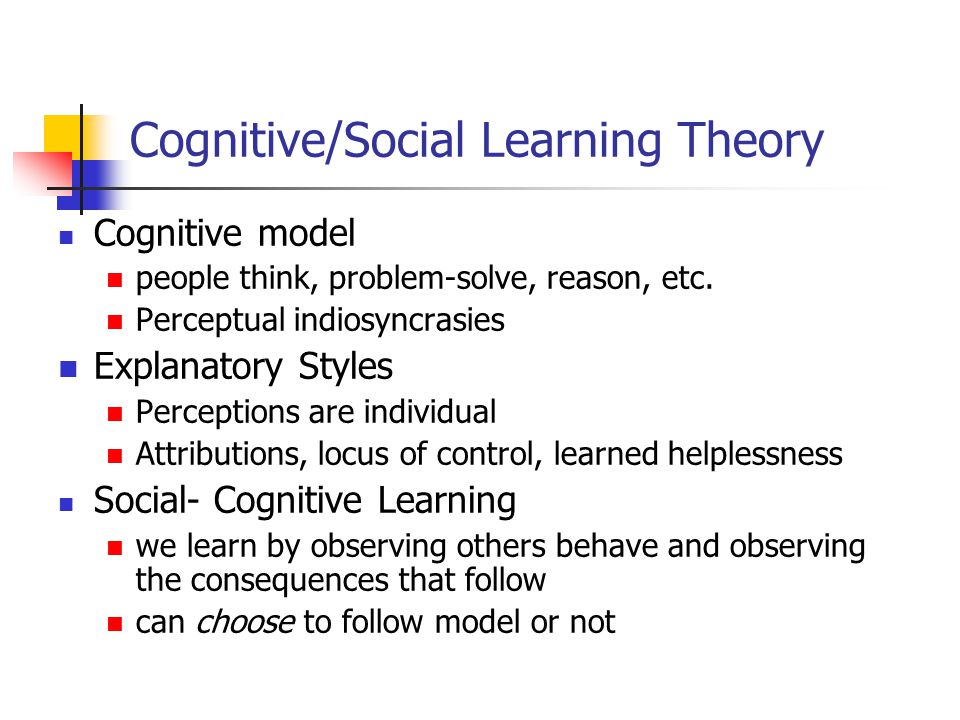 Cognitive/Social Learning Theory
