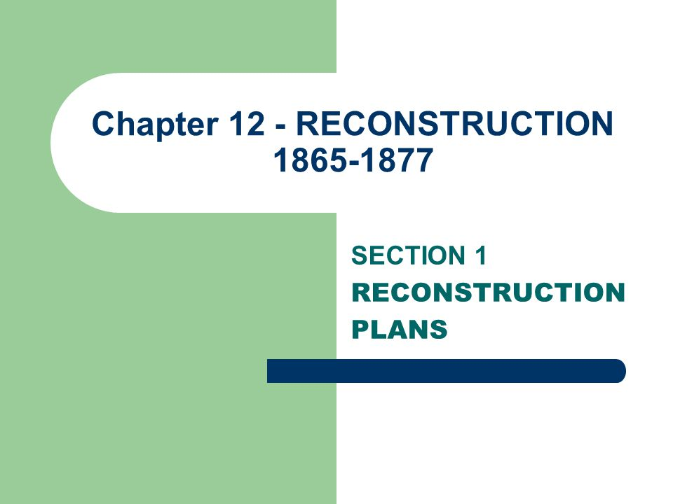Chapter 12 - RECONSTRUCTION 1865-1877