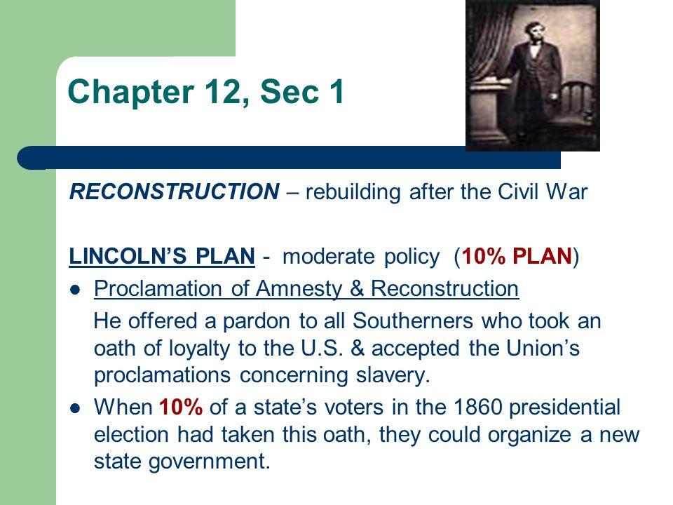 Chapter 12, Sec 1 RECONSTRUCTION – rebuilding after the Civil War