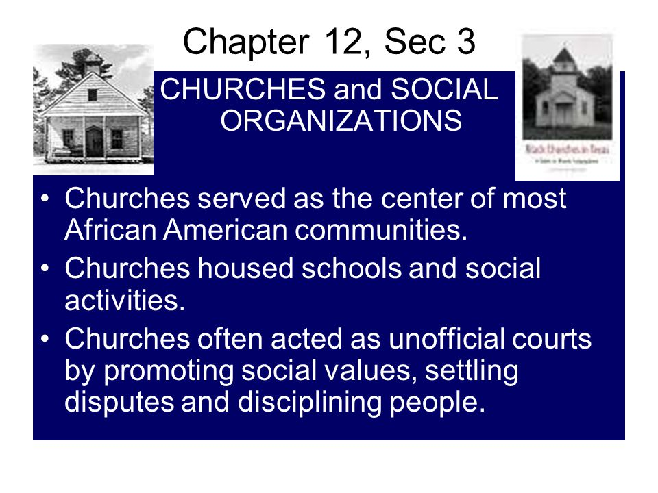 CHURCHES and SOCIAL ORGANIZATIONS