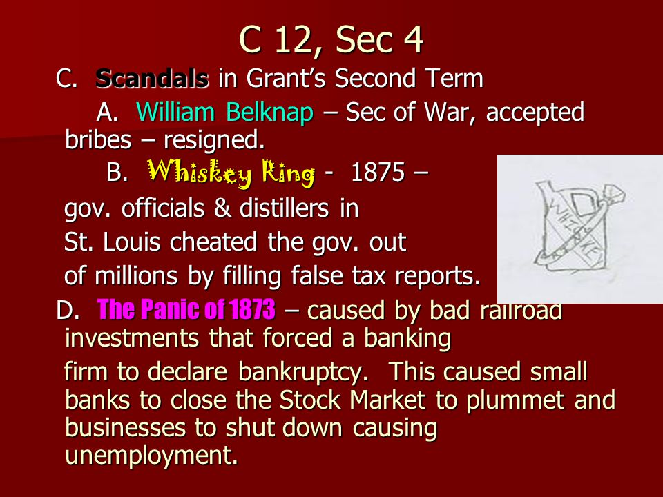 C 12, Sec 4 C. Scandals in Grant's Second Term