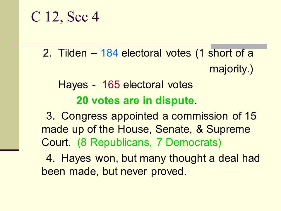 C 12, Sec 4 2. Tilden – 184 electoral votes (1 short of a majority.)