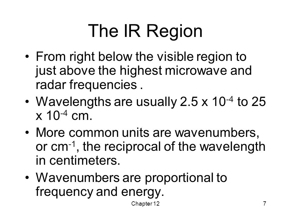 The IR Region From right below the visible region to just above the highest microwave and radar frequencies .